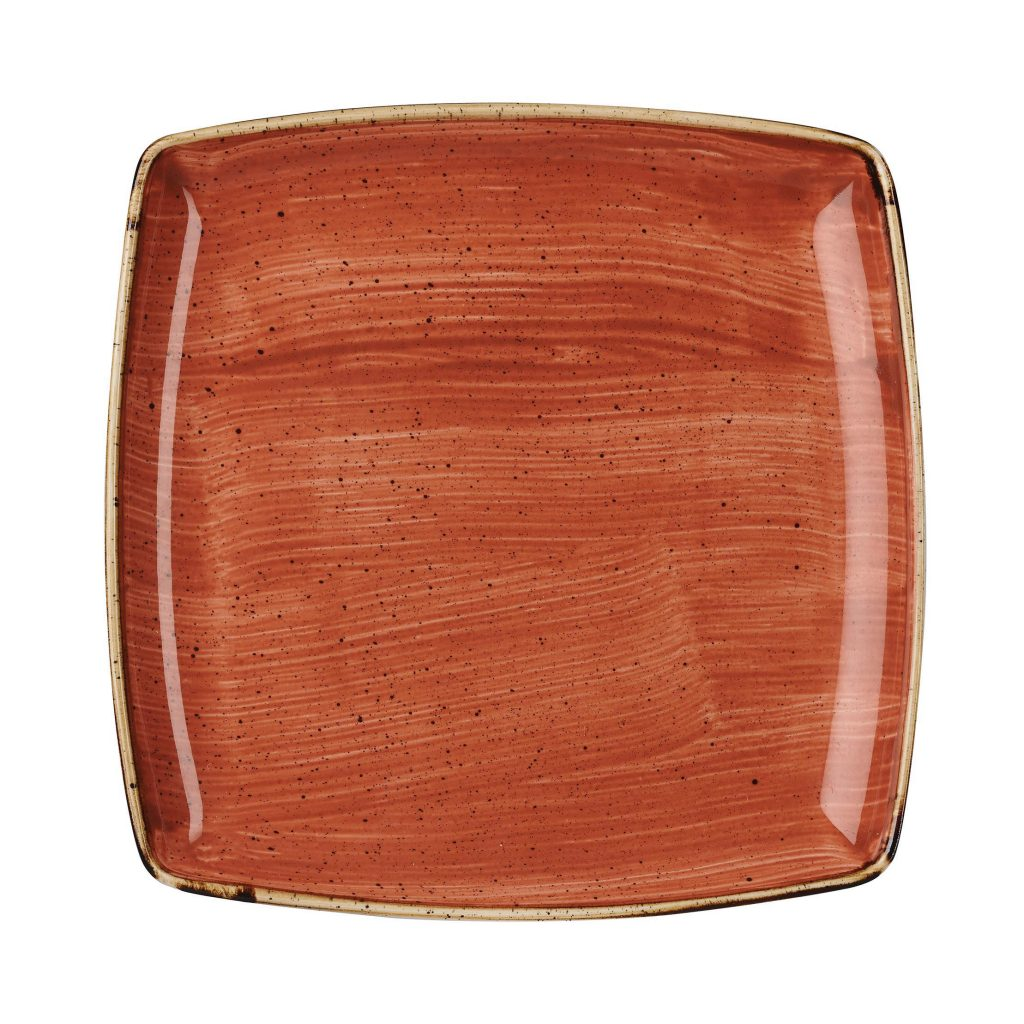 STONECAST – SPICED ORANGE DEEP SQUARE PLATE – 26.8cm (6)