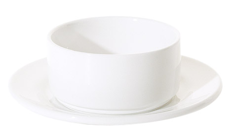 PRIMA RANGE-STACKING SOUP BOWL AND DOUBLE-WELL SAUCER