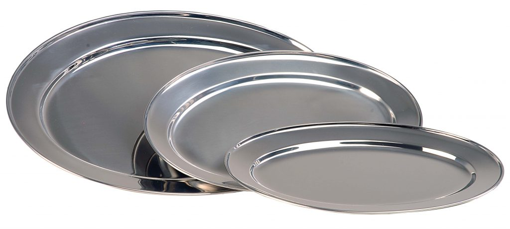 SERVING PLATTER – OVAL STAINLESS STEEL- 500mm